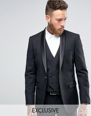 Farah Skinny Tuxedo Suit Jacket with Shawl Lapel