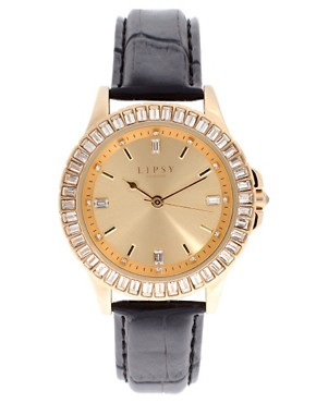 Image 1 ofLipsy Gold Round Strap Watch