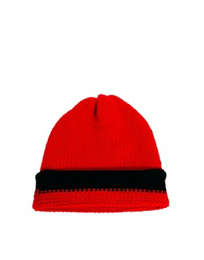 Image 2 ofUnconditional Hanknit Long Cap with 1 Wide Stripe Hat