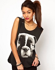 Motel Vest Top with Pug Face