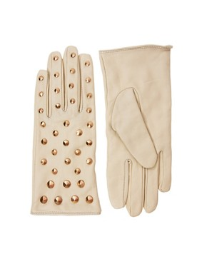 Image 1 ofASOS Leather All Over Stud Gloves