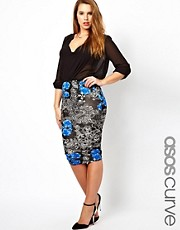 ASOS CURVE Pencil Skirt In  Floral Print
