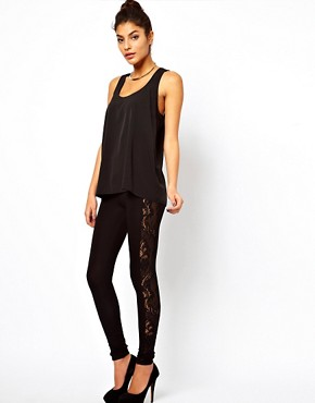 Image 1 ofASOS Leggings with Lace Panel