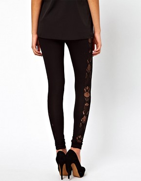Image 2 ofASOS Leggings with Lace Panel