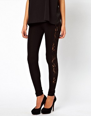 Image 4 ofASOS Leggings with Lace Panel