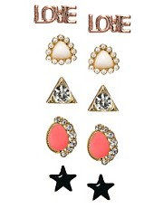 ASOS Multipack Love Stud Earrings