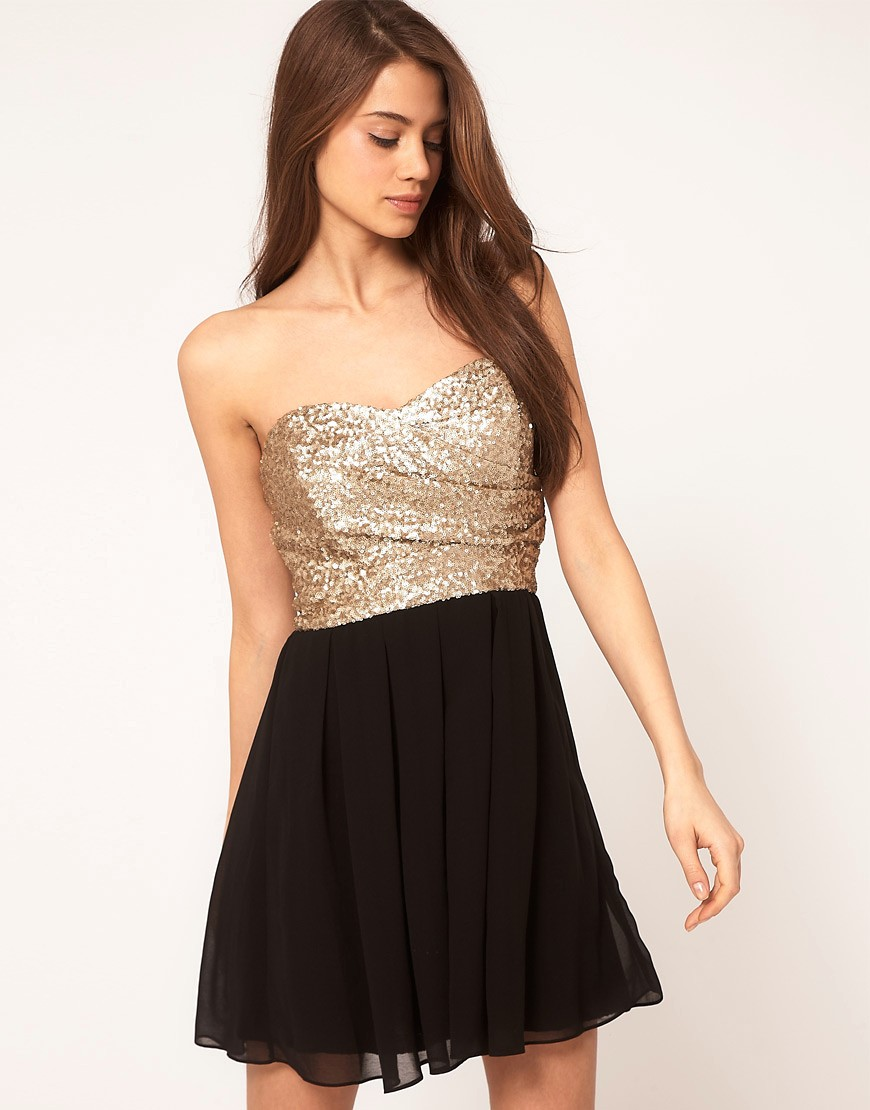 TFNC Dress with Sequin Bandeau & Chiffon Skirt - Black