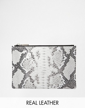 Whistles Leather Clutch in Faux Snake Print
