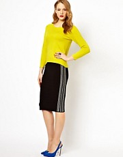 Karen Millen Bandage Knit Skirt with Graphic Stripe