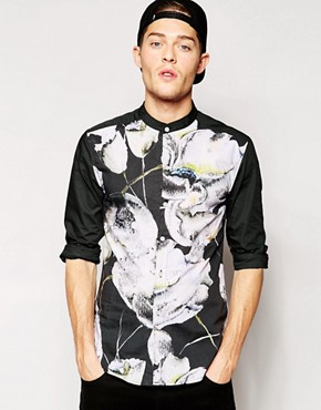 Standard Issue Grandad Shirt with All Over Large Floral Sublimation Print