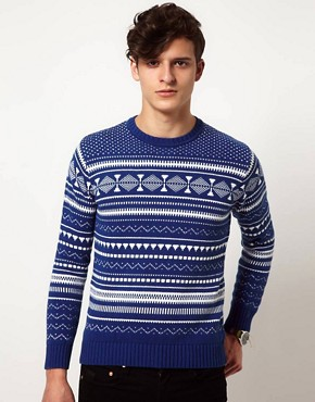 Image 1 ofShades of Grey Jumper with Fairisle Print