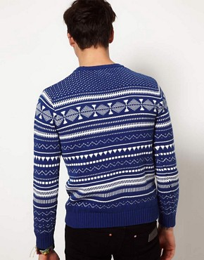 Image 2 ofShades of Grey Jumper with Fairisle Print
