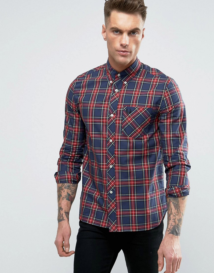 Fred Perry Laurel Wreath Shirt Plaid Check Slim Fit in Navy - Navy