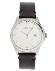 Marc By Marc Jacobs Black Leather Strap Watch With Silver Face