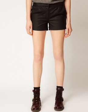 Image 4 ofVila Leather Look Shorts