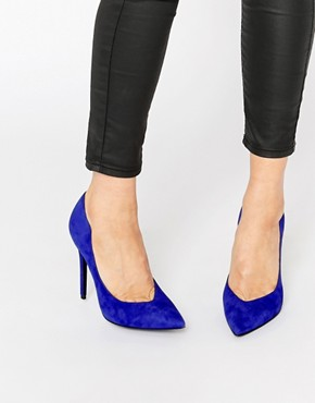 Kendall & Kylie Abi Suede Electric Blue Court Pointed Court Shoes