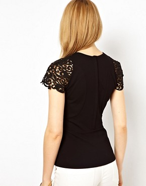 Image 2 ofKaren Millen Peplum Top with Lace Sleeves