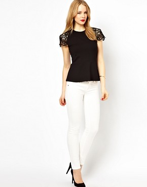 Image 4 ofKaren Millen Peplum Top with Lace Sleeves