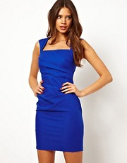 Lipsy Pleated Pencil Dress with Square Neck