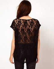 Just Female Lace Back Hi-Lo Blouse