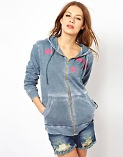 Wildfox Give Us A Kiss Hooded Zip Through Top