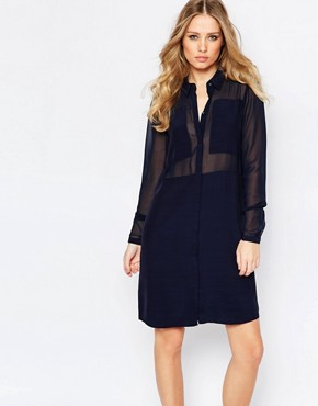 Y.A.S Cilla Shirt Dress with Sheer Inserts