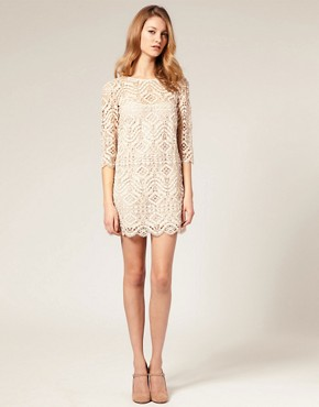 Image 4 of ASOS SALON Lace Shift Dress