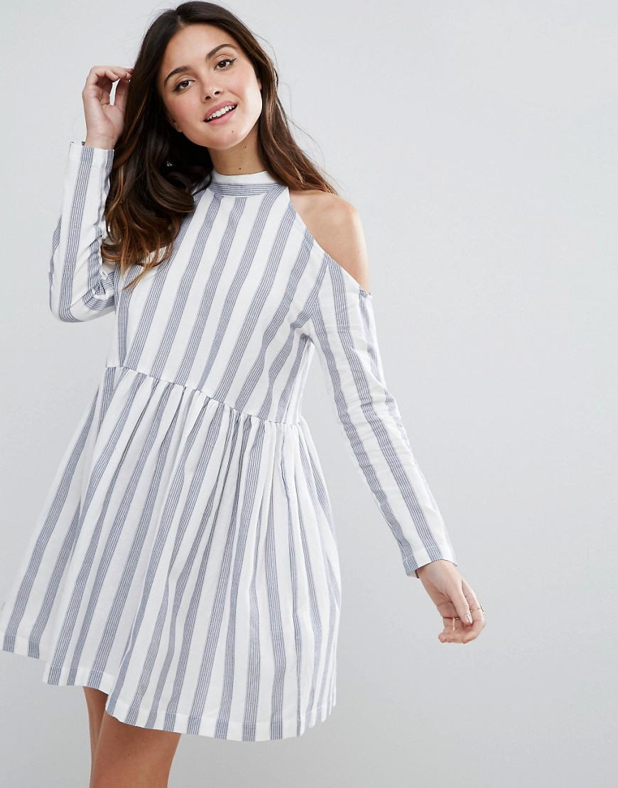 ASOS Cold Shoulder Cotton Stripe Smock Dress - Multi