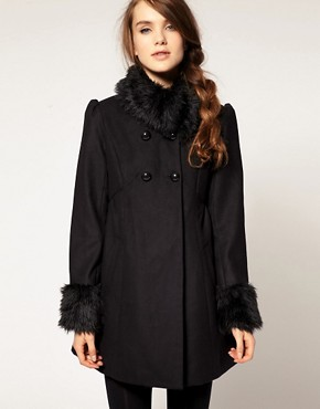 Image 1 ofA Wear Faux Fur Collar And Cuff Coat