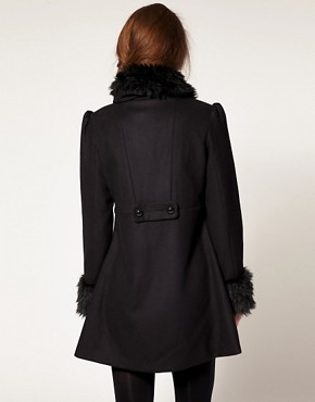 Image 2 ofA Wear Faux Fur Collar And Cuff Coat
