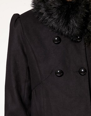 Image 3 ofA Wear Faux Fur Collar And Cuff Coat