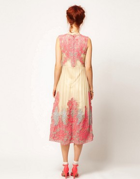 Image 2 ofASOS SALON Neon Embroidery Mesh Midi