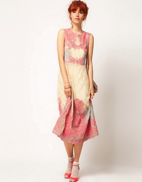 Image 4 ofASOS SALON Neon Embroidery Mesh Midi
