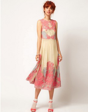 Image 1 ofASOS SALON Neon Embroidery Mesh Midi