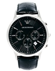 Emporio Armani  AR2447  Chronographenuhr mit Lederarmband
