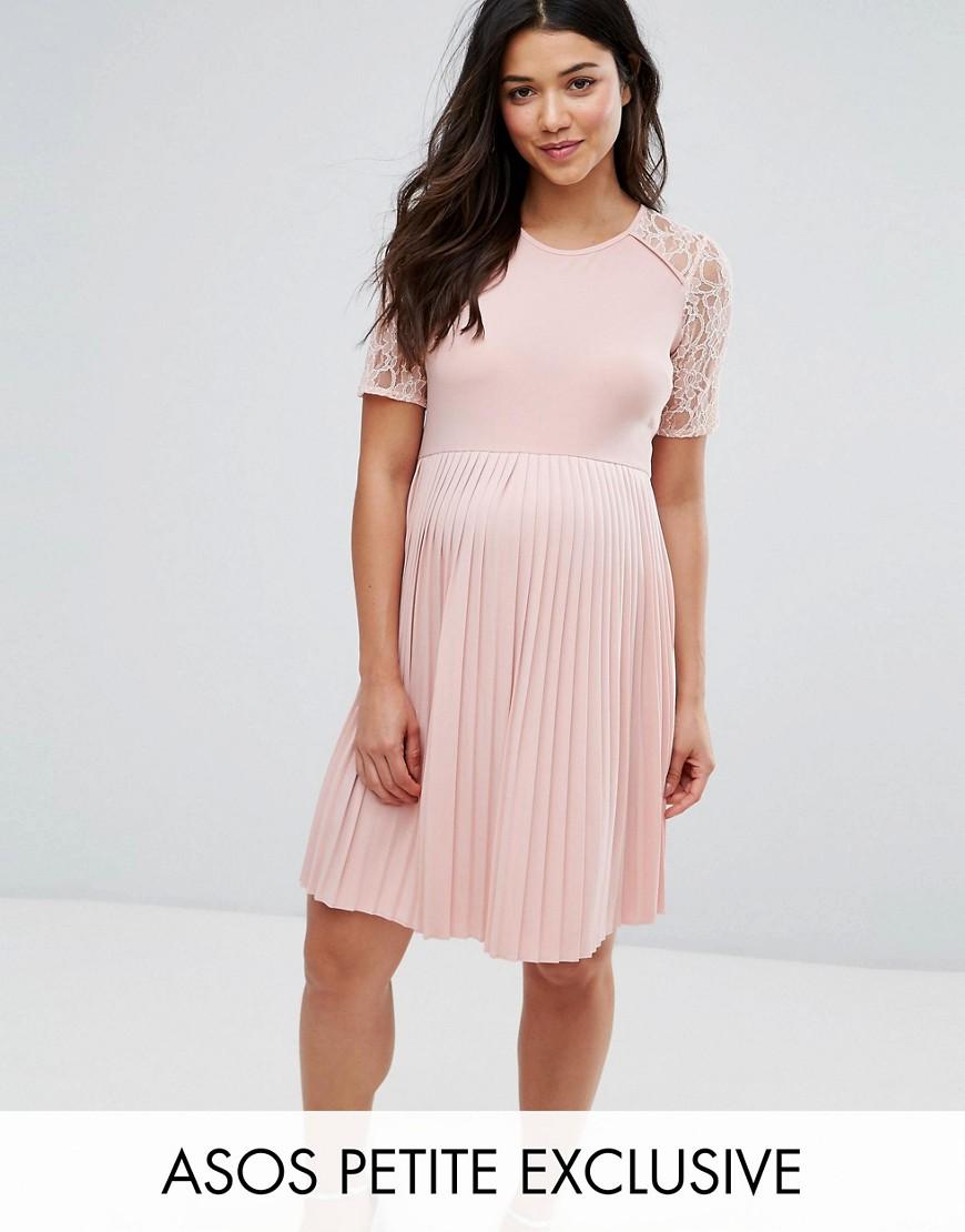 ASOS Maternity PETITE Pleat and Lace Mini Dress - Nude