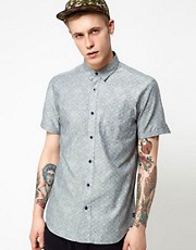 Analog Shirt Short Sleeve Floral Chambray
