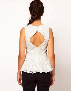 Image 2 ofRiver Island Peplum Top With Necklace Detail