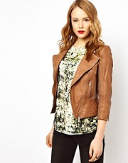 Karen Millen Leather Jacket with Knitted Trim in Tan