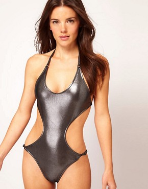 Image 1 ofBy Caprice Metallic Cut Out Swim Suit