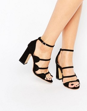 Glamorous Multi Strap Flared Heeled Sandals