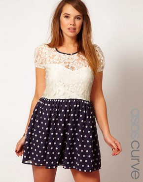 Image 1 ofASOS CURVE Skater Dress With Lace Top And Spot Skirt