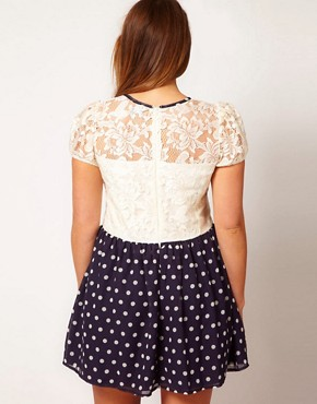 Image 2 ofASOS CURVE Skater Dress With Lace Top And Spot Skirt