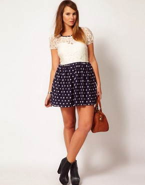 Image 4 ofASOS CURVE Skater Dress With Lace Top And Spot Skirt