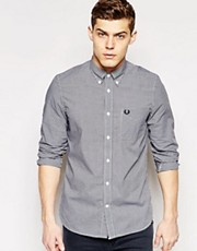Camisa de algodn a cuadros de manga larga de Fred Perry