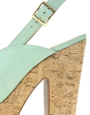Image 2 ofASOS HEPBURN Leather Slingback Platform High Sandals