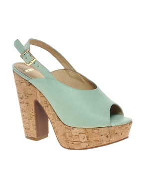 Image 1 ofASOS HEPBURN Leather Slingback Platform High Sandals