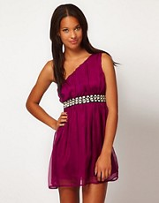 Club L One Shoulder Dress With Embellished Belt