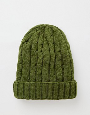 7X Cable Banie Hat In Khaki Green