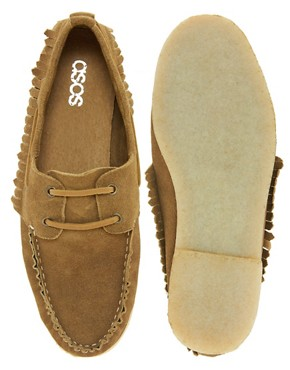 Image 3 ofASOS Fringe Boat Shoes With Crepe Sole